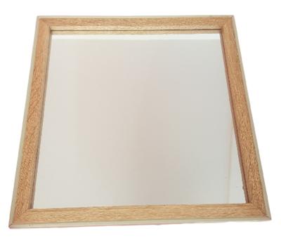 Spiegel ALLARD - Groen / Bruin - Hout - 30x30 cm - Vierkant - Wandspiegel