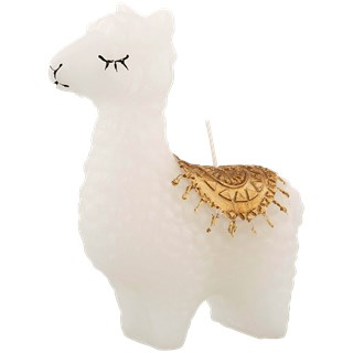 Alpaca kaars - Wit / Goud - 10.5 x 5 x 14 cm - Lama