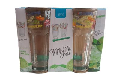 Mojito set - Glas - Transparant - Set van 3