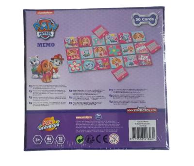 Paw Patrol Memory - Paars / Multicolor - Karton - 36 kaartjes - Spel