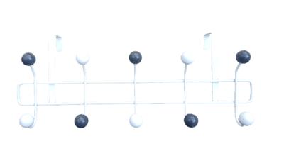 Kapstok deur NIELS - Wit / Zwart - 10 haaks - Metaal - Ophangrek - 42 x 16 cm