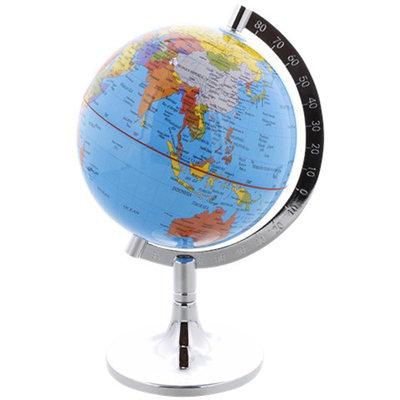 Wereldbol met metalen standaard - Kunststof - h 23 cm