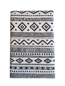Tafelkleed met motief EVERT - Zwart / Wit - Katoen - 140 x 250 cm