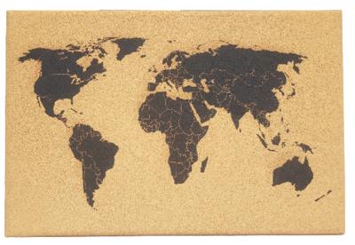 Wereldkaart prikbord met punaises - Bruin / Zwart - Kurk - 60 x 40 cm