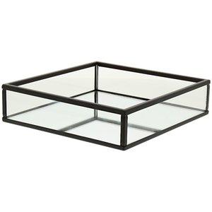Decoratie tray / dienblad met spiegel KEITH - Zwart - 15 x 15 x 3.7 cm - Maat S