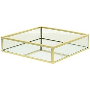 Decoratie tray / dienblad met spiegel KEITH - Goud - 15 x 15 x 3.7 cm - Maat S