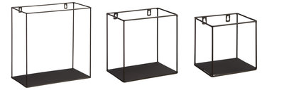 Wandrek LEEN - Zwart - Metaal - 30 x 15 x 30 cm - Set van 3
