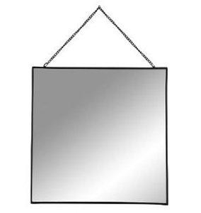 Spiegel met ketting NOA - Zwart - Metaal - 30 x 30 cm - Vierkant