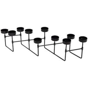 Harmonica theelichthouder set CHANTAL - Zwart - Metaal - 50 x 10 x 12 cm