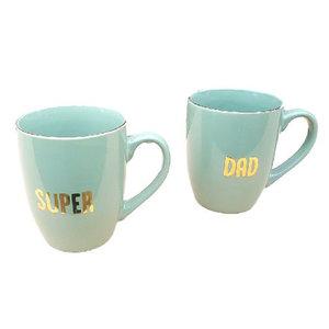 Super Dad Beker / mokkenset - Groen / Goud - set van 2 - Giftset