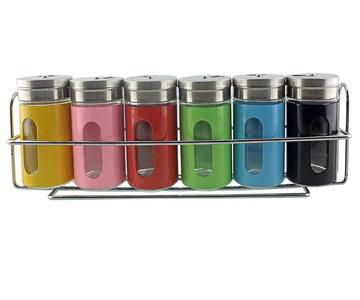 Red Hart - Gekleurde Kruidenstrooier Set met Draaidop inclusief Ophangrek - 6 Stuks - Kruiden - Zout - Oregano - Nootmuskaat -