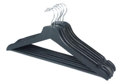Red Hart - Kledinghangers met broeklat Silvia - Zwart - Set van 6 - Hout - klerenhanger - kleerhanger - broekenstang