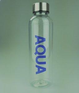 "Waterfles met tekst ""AQUA"" - Blauw - Transparant/Zilver - Plastic"