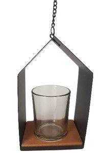 Theelichthouder met ophanghaakje JONAS - Zwart - Metaal / Glas - 8.5 x 6 x14 cm