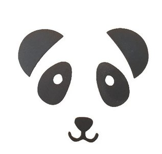 Spiegel / muursticker - Panda - Zwart - Kunststof - 20 x 20 cm
