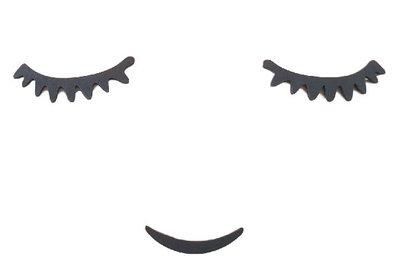 Spiegel / muursticker - Eye brow / Wenkbrauw - Zwart - Kunststof - 21 x 12 cm