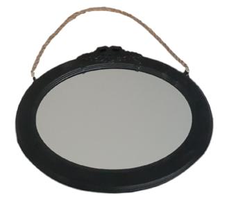 Vintage spiegel ANGELIQUE - Zwart - Hout - 37 x 31,5 cm - Ovaal - Wandspiegel