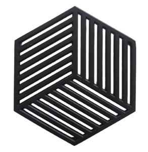 Luxe onderzetter HEXAGON - Zwart - Metaal - 10 cm - Set van 2
