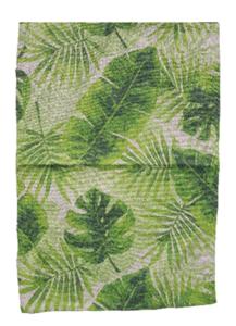 Vloerkleed blad motief AUGUST - Bruin / Groen - 60 x 90 cm - Tapijt