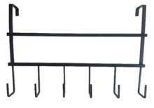 Kapstok deur ALPER - 6-haaks - Zwart - Metaal - Ophangrek