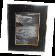 Fotolijst met Croco print MICHA - Zwart / Goud - Kunststof / Hout - 13 x 18 cm