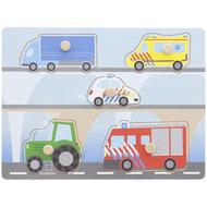 Houten puzzel voertuigen - Multicolor - 5-delig