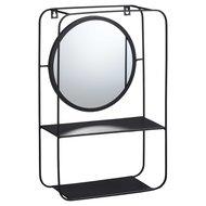 Wandrek met spiegel LORENZ - Zwart - Metaal - 12 x 29.5 x 45 cm