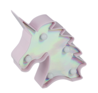 Red Hart - LED nachtlamp - Unicorn / Eenhoorn - Hoofd - Roze - 12.5x10.5x3cm