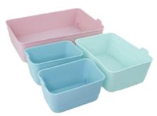 Flexibele mini opbergmandjes FERNANDO - set van 4 - Blauw/Groen/Roze - Kunststof - Voorraadbakjes - Opbergbakjes
