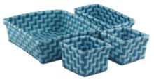 Gevlochten opbergmandjes - set van 4 - Blauw - mandjes - opbergbakjes