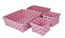 Gevlochten opbergmandjes - set van 4 - Roze - mandjes - opbergbakjes