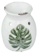 Geurbrander met bladmotief - Wit / Groen - Keramiek - Ø 9.5x10.5cm