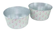 Bloempot Flamingo - Set van 2 - Groen / Roze - Zink - Ø20x10 cm