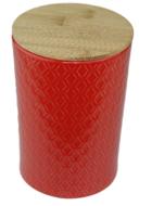 Voorraadpot met houten deksel - Rood - Keramiek - Ø11 cm