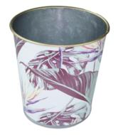 Bloempot met blad motief - Groen/Paars - Zink - Ø13.5x14 cm
