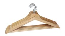 Kledinghangers met broeklat Silvia - Bruin - Set van 6 - Hout - klerenhanger - kleerhanger - broekenstang