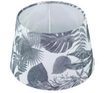 Lampenkap Marlies met blad motief - Zwart/Wit - Ø20cm - Katoen