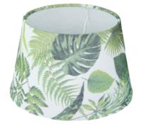 Lampenkap Marlies met blad motief - Groen/Wit - Ø20cm - Katoen