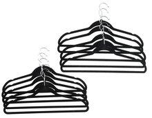 Fluwelen kledinghangers met broeklat - Zwart - Set van 10 - Hout - klerenhanger - kleerhanger - broekenstang