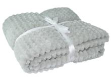 Plaid met blokjes motief - Deken - Grijs - Polyester - 130x160cm - Woondeken