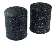 Voorraadblik met patroon DAPHNE - Marmer/Zwart - 12cm - Set van 2