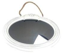 Vintage spiegel Angelique - Wit - Hout - 37x31,5cm - Ovaal - Wandspiegel