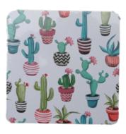 Luxe onderzetter met cactussen - Multicolor - verpakt per 6 - MDF/Kurk