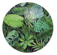 Decoratie bord met blad motief - Zwart / Groen - Ø33cm