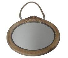 Vintage spiegel ANGELIQUE - Bruin - Hout - 37x31,5cm - Ovaal - Wandspiegel