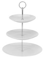 Excellent Houseware 3 Laags Etagere TARA - Wit - Porselein - 26.5 x 21 x 17 cm