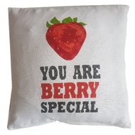 "Sierkussenhoes met tekst ""You are berry special"" LENA - Wit / Rood - 40 x 40 cm"