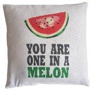 """Sierkussenhoes met tekst """"You are one in a Melon"""" MIA - Wit / Rood / Groen - 40 x 40 cm"""