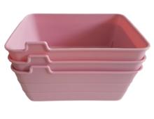 Flexibele opbergmandjes GINO - set van 3 - Roze - Kunststof -  18 x 13.5 x 7.5 cm