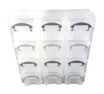 Opbergdoos met 12 vakken MIKE - Transparant / Zwart - Kunststof